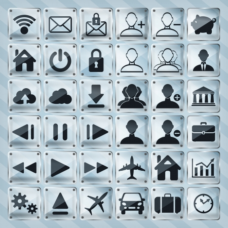 set of glass web, multimedia and business icons on a striped background