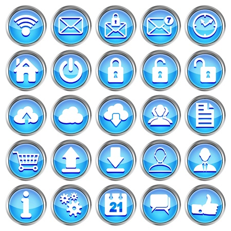 set of blue glossy web icons on a white background