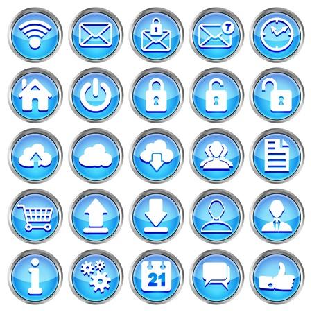 set van blauwe glanzende web pictogrammen op een witte achtergrond Vector Illustratie