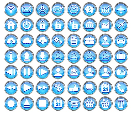 set of blue web, multimedia and business icons on a white background  Vector