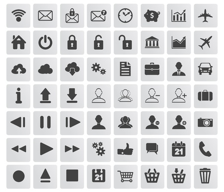 set of web, multimedia and business icons on a white background Stock Vector - 19619288