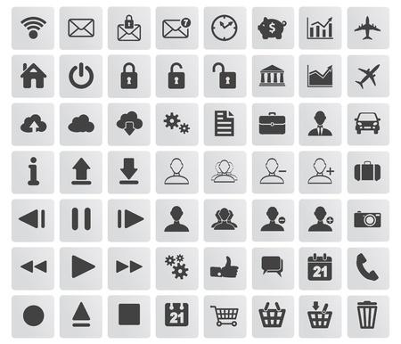 set van web-, multimedia-en zakelijke iconen op een witte achtergrond