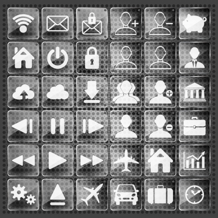 set of glass web, multimedia and business icons on a metallic background Vector