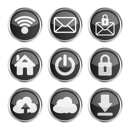 set of black web icons on a white background  Vector