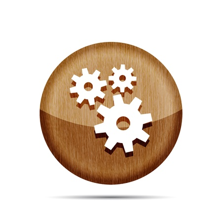 wooden icon with gears on a white background  Stock Vector - 19619561