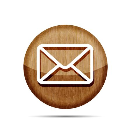 wooden mail icon isolated on white background Vector