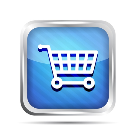 Blue striped shopping cart icon on a white background  Vector