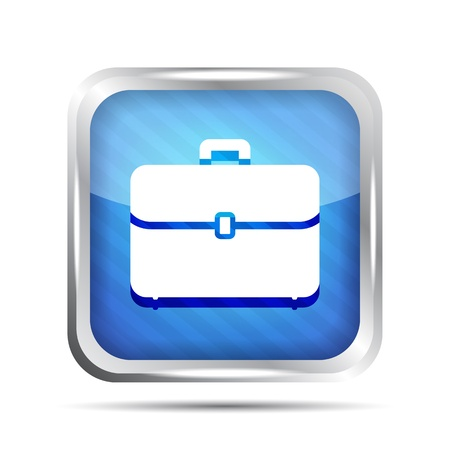 blue striped briefcase icon on a white background Vector