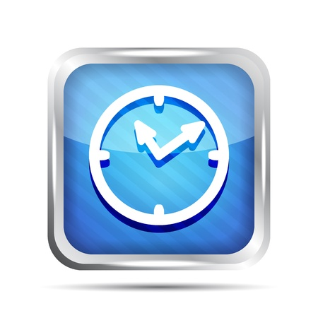 blue striped shiny watch icon on a white background Vector