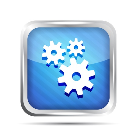 blue striped metallic icon with gear on a white background Stock Vector - 20071611