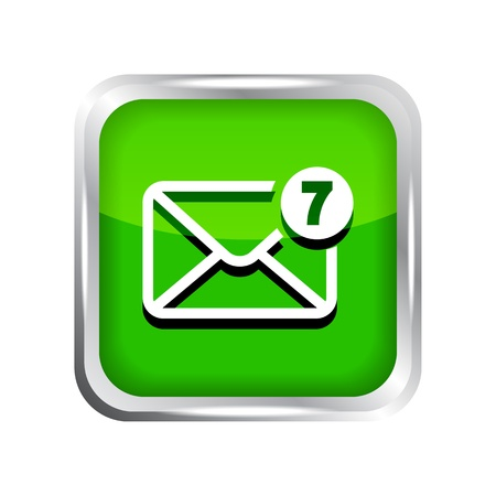 unread: green mail icon with unread messages on a white background