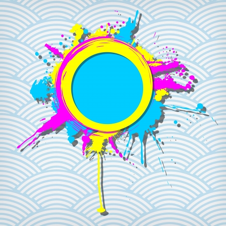 Cute circular transparency grunge frame on a waves background