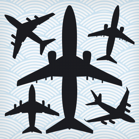 fuselage: airplanes isolated on waved background