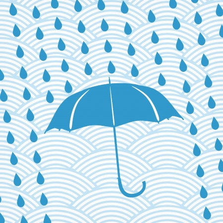blue umbrella and rain drops on the waved background  Vector