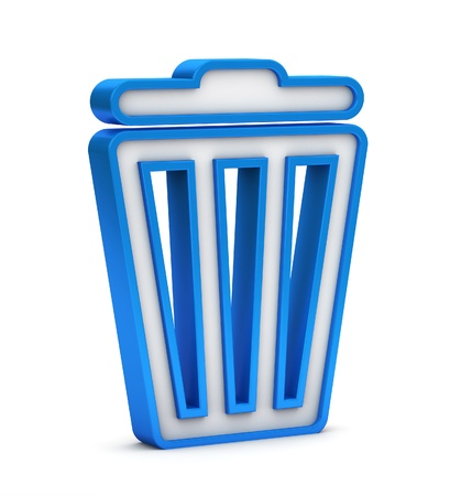 blue trash bin icon on a white background photo