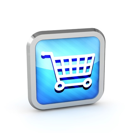 blue striped shopping cart icon on a white background photo
