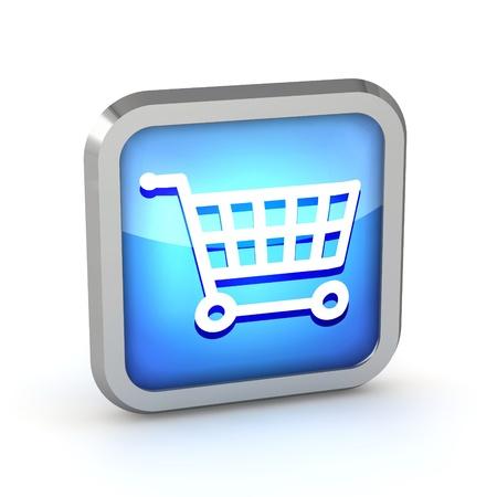 blue shopping cart icon on a white background photo