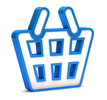Blue shopping basket icon on a white background photo