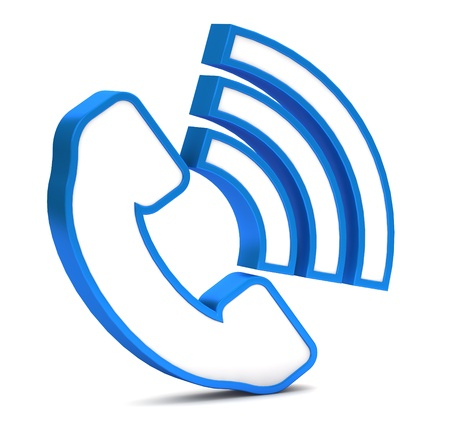 3d contact us: Blue phone button icon on a white background