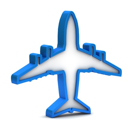 blue airplane icon on a white background photo