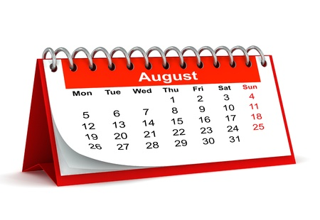 3d red desk paper 2013 year calendar - month of august photo