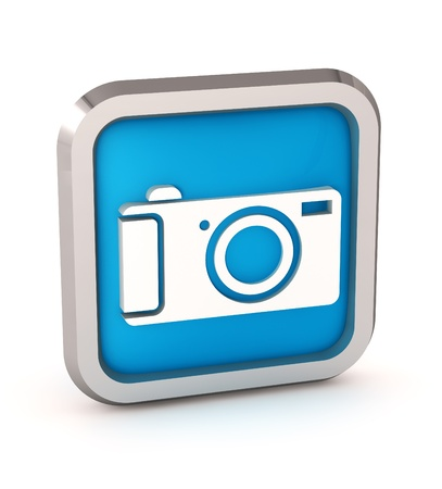 blue digital camera icon button on a white background photo