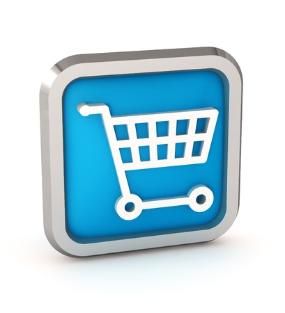 Blue shopping cart icon on a white background photo
