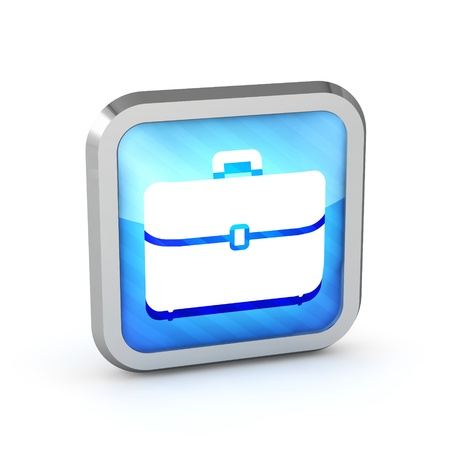 blue striped briefcase icon on a white background photo
