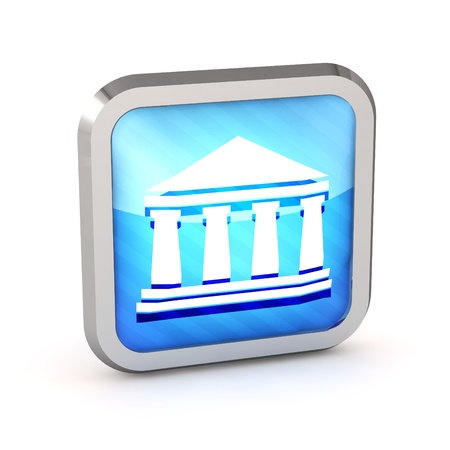 blue striped bank icon on a white background photo