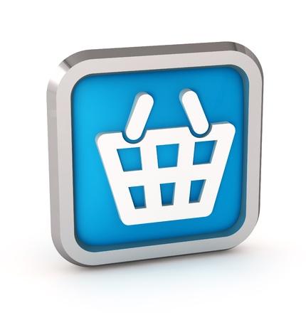 Blue shopping basket icon on a white background  photo