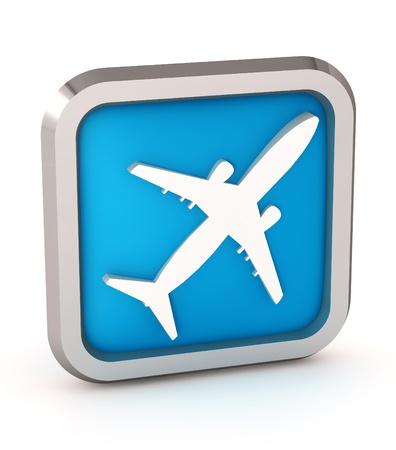 blue airplane icon on a white background photo