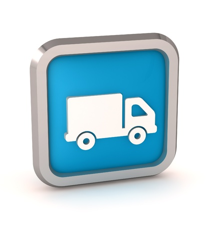 blue truck icon button on a white background photo