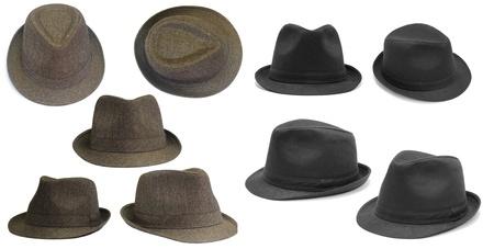 bowler hat: Set of brown hats