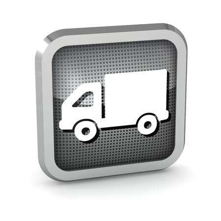 metallic truck icon button on a white background photo