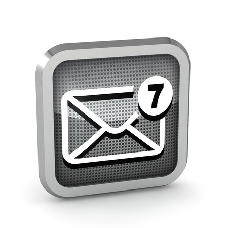 outlook: mail icon with seven unread messages on a white background Stock Photo