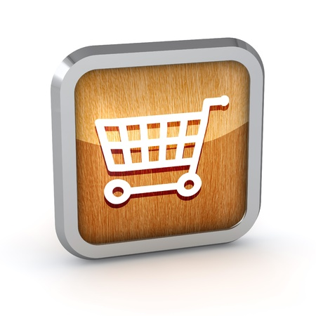 wooden shopping cart icon on a white background photo