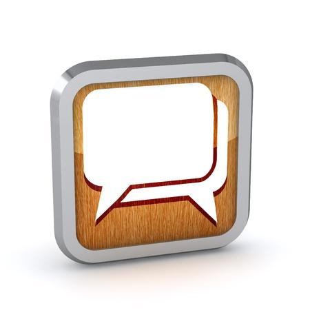 wooden dialog icon on a white background Stock Photo - 20071811