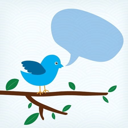 blue bird with message bubble sitting on a tree branch Vector