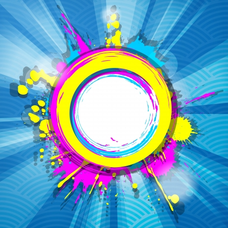 abstract colorful grunge frame with rays on blue striped background  Stock Vector - 20599202