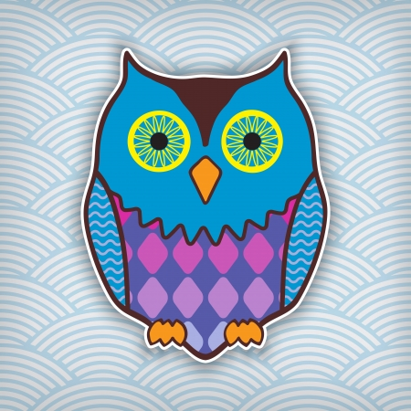 hoot: cute motley owl on a waved background