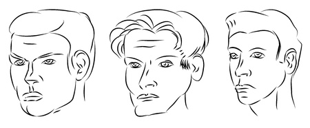 dude: three man outline faces isolated on white Illustration