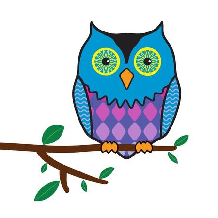 hoot: illustration of funny owl sitting on a tree branch  Illustration
