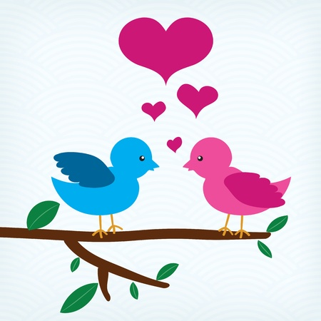 Pair of birds in love sitting on a tree branch Stock Vector - 20599154
