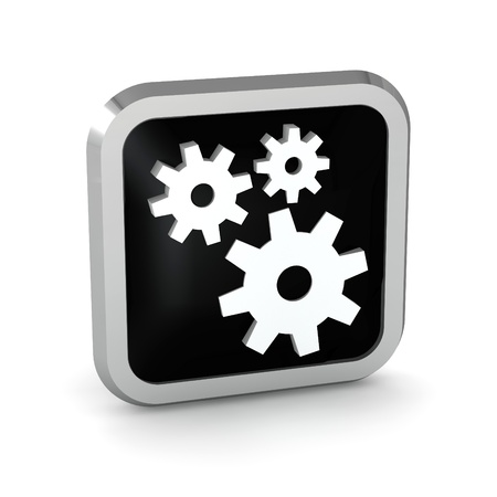 black icon with gears on white background Stock Photo - 20599177