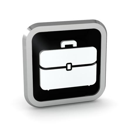 black briefcase: icono de malet�n negro sobre un fondo blanco Foto de archivo