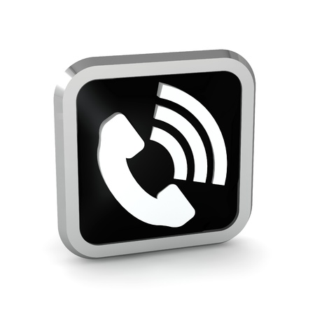 black phone button icon on a white background Stock Photo - 20599176