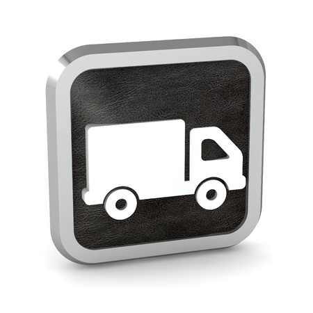 black truck icon button on a white background photo