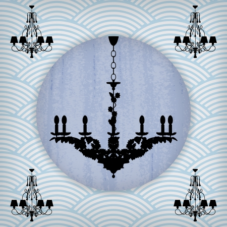 silhouette of luxury chandelier on a scratched blue wallpaper/ template design of invitation with chandelier Stock Vector - 23123600
