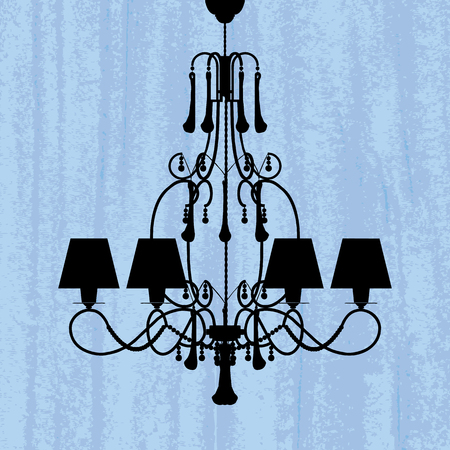 silhouette of luxury chandelier on a scratched blue wallpaper/ template design of invitation with chandelier  Stock Vector - 23123605