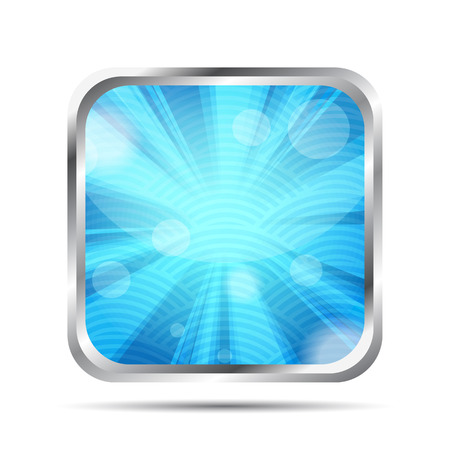 blue glossy icon with rays on a white background Vector